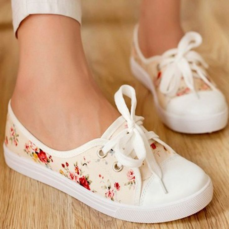 Red floral flat canvas cute teen shoes
