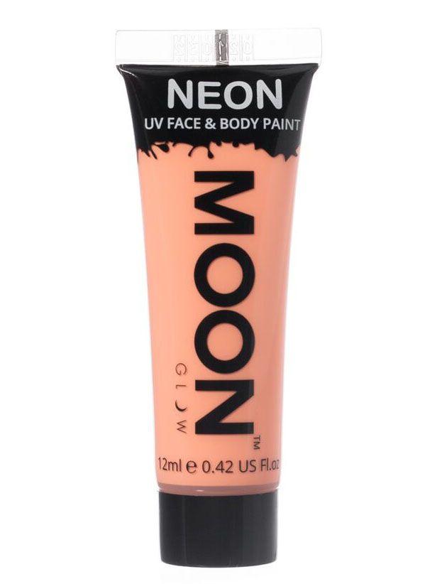 Gel cara y cuerpo naranja pastel UV Moonglow™ 12 ml: Este tubo demaquillajegelpara cara y cuerpo es de la marcaMoonglow™.Mide 7,5 cm de largo y contiene 12 ml de crema naranja pastel que brilla con luz ultravioleta.Se...