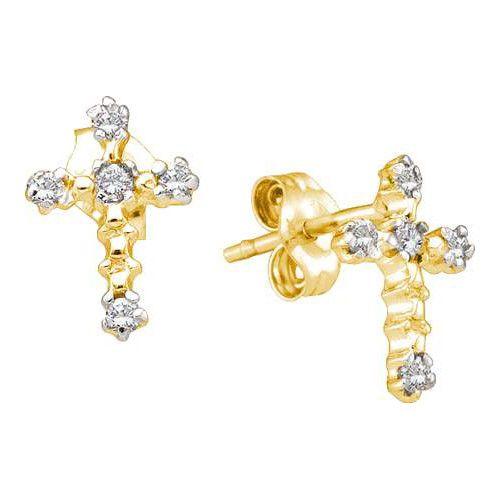 10k Yellow Gold 0.06Ctw Diamond Cross Earring