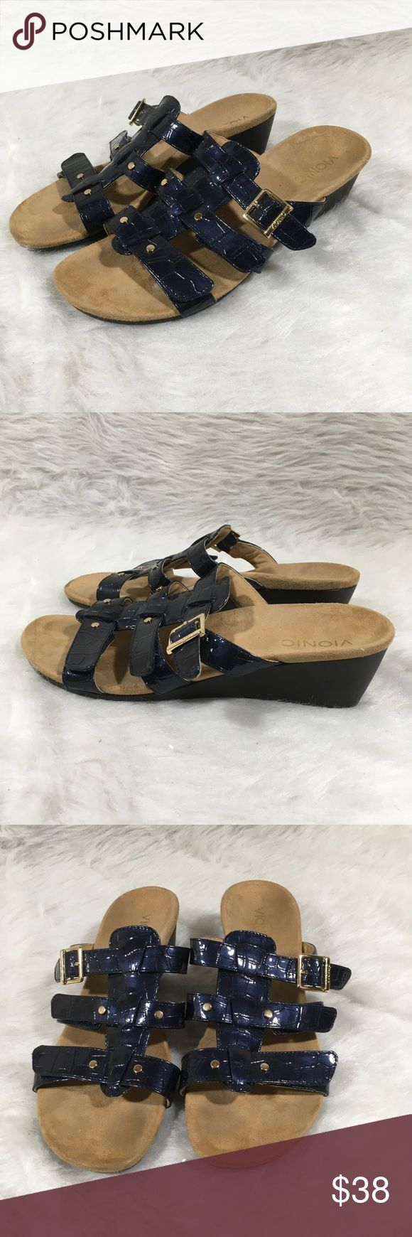 Vionic ParkRadia Blue Crocodile Wedge Sandals Sz 9 Vionic By Orthaheel Park Radia Blue Crocodile Wedge Sandals Alides Sz 9 Gold  Size- 9  Condition-Near mint condition. There is some peeling on wedge, see pictures. Vionic Shoes Sandals