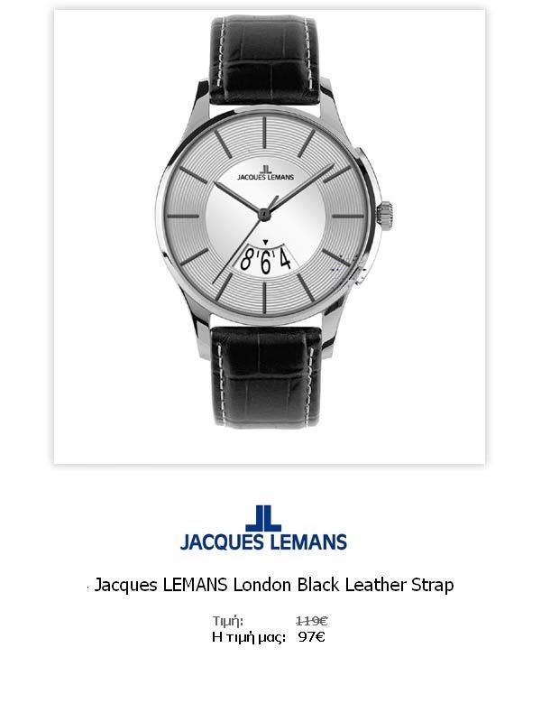 Jacques LEMANS London Black Leather Strap  1-1746C  Όλες οι λεπτομέρειεςτου ρολογιού εδώ   http://www.oroloi.gr/product_info.php?products_id=31787