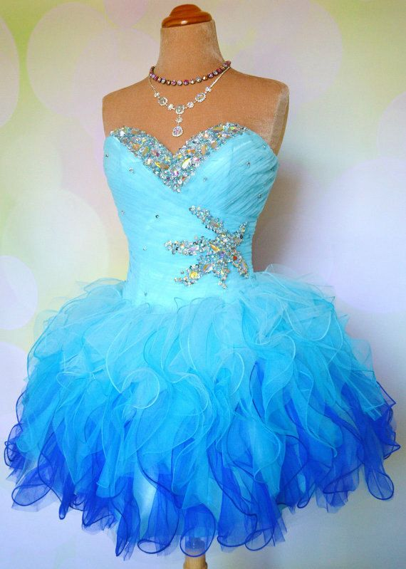 2014 Beaded Sweetheart Short Organza Blue Prom Dress Gown With Ruffles/Cocktail Holiday Dress/Custom made dress/Formal Dress/Party Dress on Etsy, $129.99