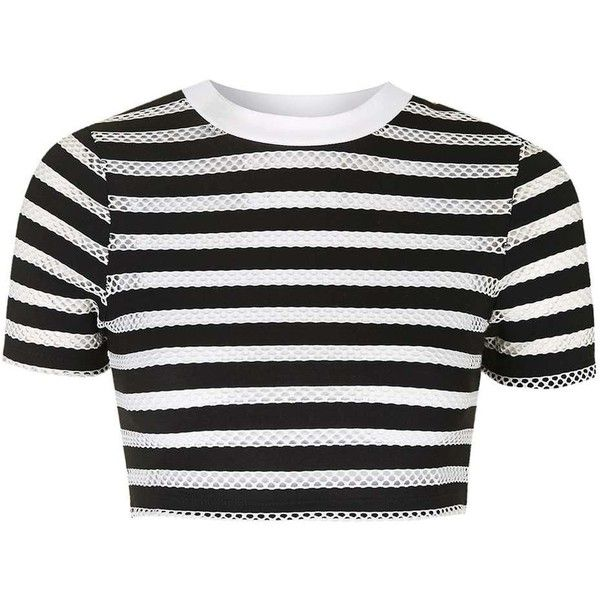 TopShop Striped Airtex Crop Tee (£16) ❤ liked on Polyvore featuring tops, t-shirts, crop tops, crop, sports crop top, polyester t shirts, sport top, crop t shirt and stripe crop top
