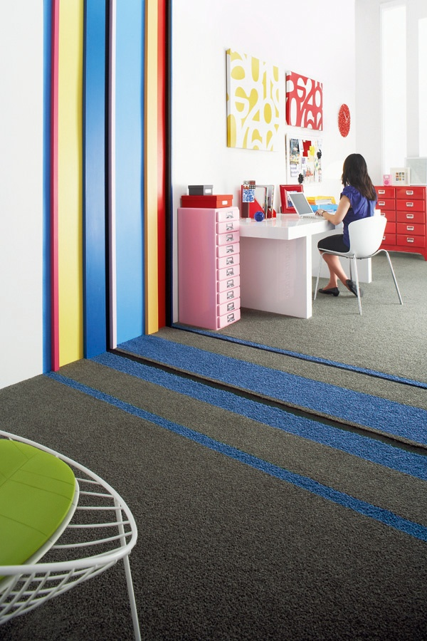Create cool stripes with different coloured and textured carpets