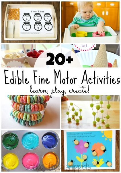 Play, Learn, and Create all while strengthening fine motor skills!  20+ Edible Fine Motor Activities Your Child Will Love!  Have fun snacking!