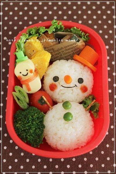 Cute Snowman Kyaraben Onigiri, Rice Ball Bento Lunch