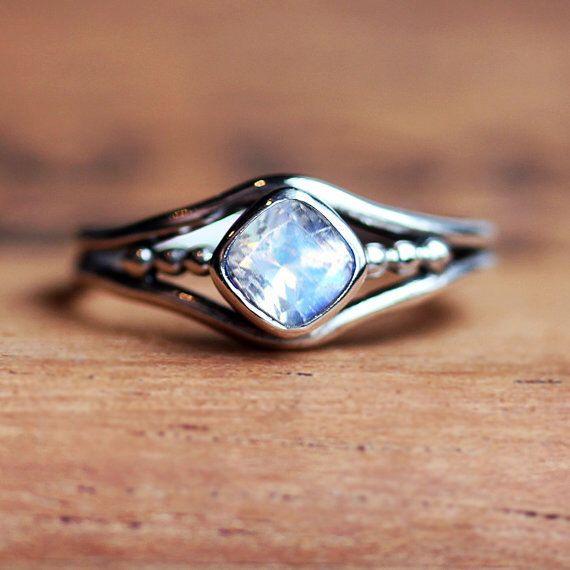 Rainbow moonstone ring, June birthstone ring, cushion cut ring, oxidized silver ring, bezel set ring organic ring, sterling silver, custom by metalicious on Etsy https://www.etsy.com/listing/287904045/rainbow-moonstone-ring-june-birthstone