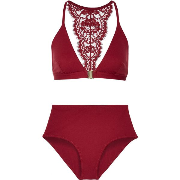 I.D. Sarrieri Elite Chantilly lace-trimmed bikini (€520) ❤ liked on Polyvore featuring swimwear, bikinis, swimsuits and claret