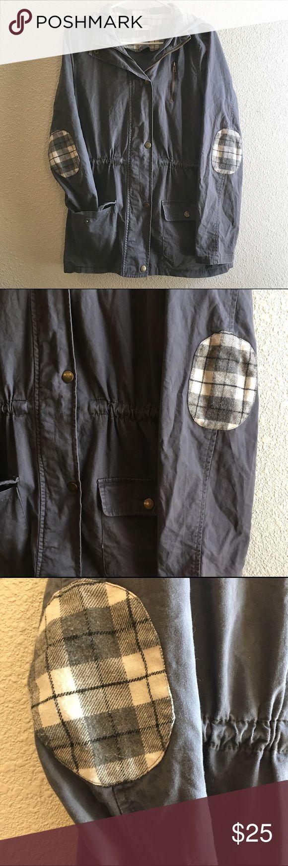 Leather jacket repair ottawa - Blu Pepper Plaid Elbow Patch Utility Jacket Blue