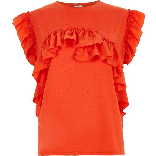 River Island Orange frill T-shirt ($40) ❤ liked on Polyvore featuring tops, t-shirts, orange, plain t-shirts / tanks, t shirts / tanks, women, loose fitting t shirts, orange t shirt, crew t shirts and red top