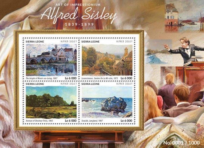 SRL15413a Alfred Sisley (The Bridge of Moret-sur-Loing, 1887, Louveciennes. Sentier de La Mi-côte, 1873, Avenue of Chestnut Trees, 1865, Seaside, Langland, 1887)