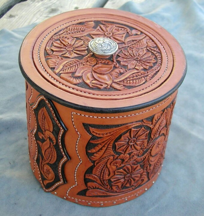 Leather urn tooled pinterest