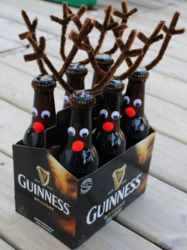 Reindeer beer ho ho ho.  Cute gift for someone who likes beer.