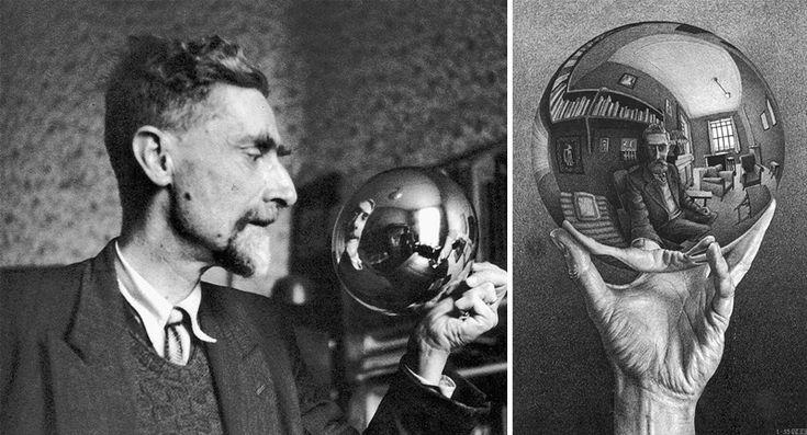 Escher autoritratto riflesso in uno specchio sferico convesso