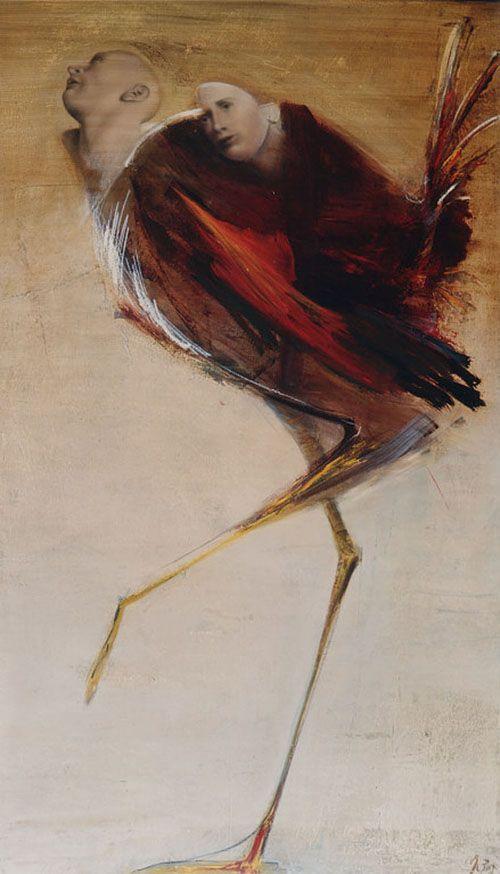 Richard Morin, Volatile rouge, 2001, Huile sur toile, 229x137cm