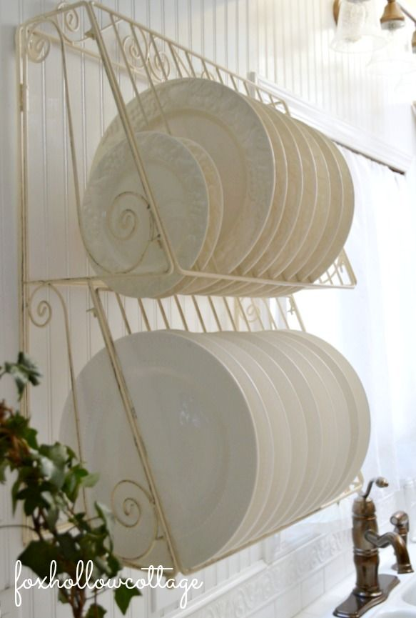 Kitchen Storage Open Wire Plate Rack Shelf Cottage Vintage Style Decor