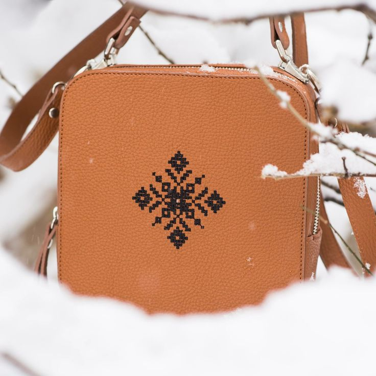 Brown magpie with black traditional embroidery. #magpie #iuttabags #winterstyle