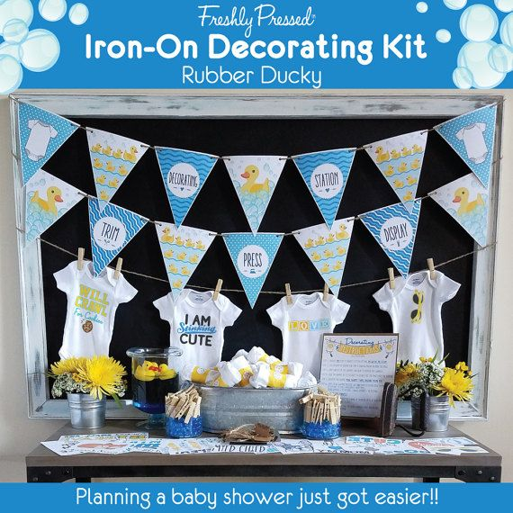 Baby Shower Kit/ Rubber Ducky/ Onesie Decorating Kit/ Station/ Blue Yellow/  Shower Games/ 12 Or 18 Transfers, Onesies/ Banners U0026 More!/ DIY