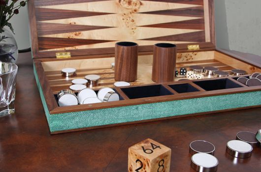 faux shagreen backgammon