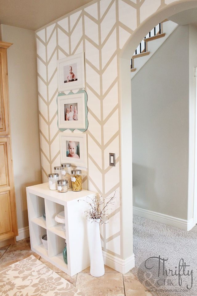 Herringbone Pattern Accent Wall- we have an arched doorway too, but the wall is huge...not sure if it really works as an accent wall if it's that big