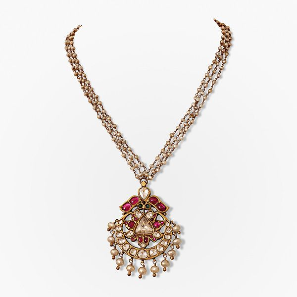 #Gemset and Pearl Neckpiece, #Jewels of South India,Saffronart