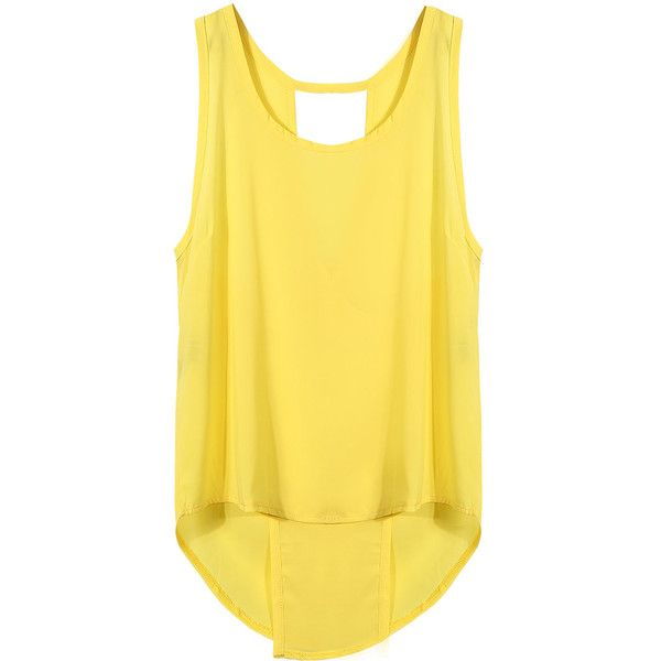 Yoins Yellow Vest with Split Back ($10) ❤ liked on Polyvore featuring outerwear, vests, yellow, yellow vest, yellow waistcoat, asymmetrical vest and vest waistcoat