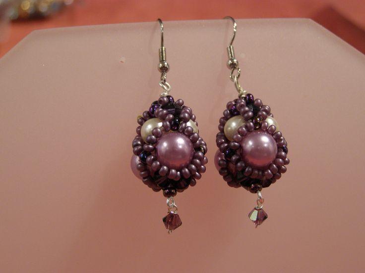 Glass Earrings – Purple Beaded drop earrings – a unique product by DarkEyedJewels on DaWanda