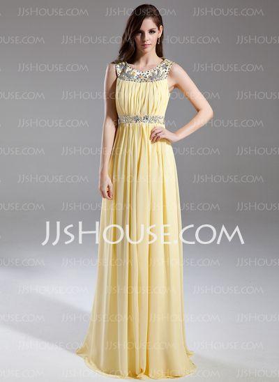 Prom Dresses - $136.99 - A-Line/Princess Scoop Neck Floor-Length Chiffon Prom Dress With Ruffle Beading (018015631) http://jjshouse.com/A-Line-Princess-Scoop-Neck-Floor-Length-Chiffon-Prom-Dress-With-Ruffle-Beading-018015631-g15631