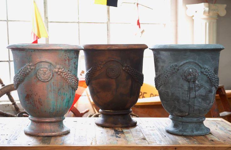 Urn three ways - Porter's Paints Liquid Copper & Patina Green, Liquid Iron & Instant Rust, Liquid Zinc & Aging Solution.