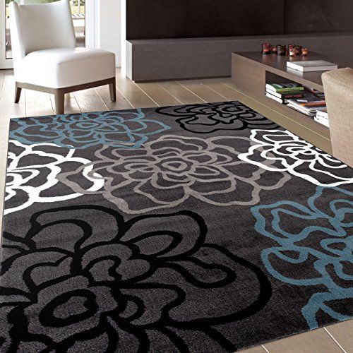 Contemporary Modern Floral Flowers Gray Area Rug 2' x 3'