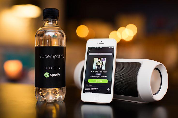 Samarbete med Über och Spotify kring profilvatten/Reklamvatten.