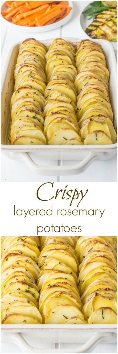 Crispy layered rosemary potatoes are just that. Thinly sliced potatoes layered with butter and rosemary then baked to crispy perfection.