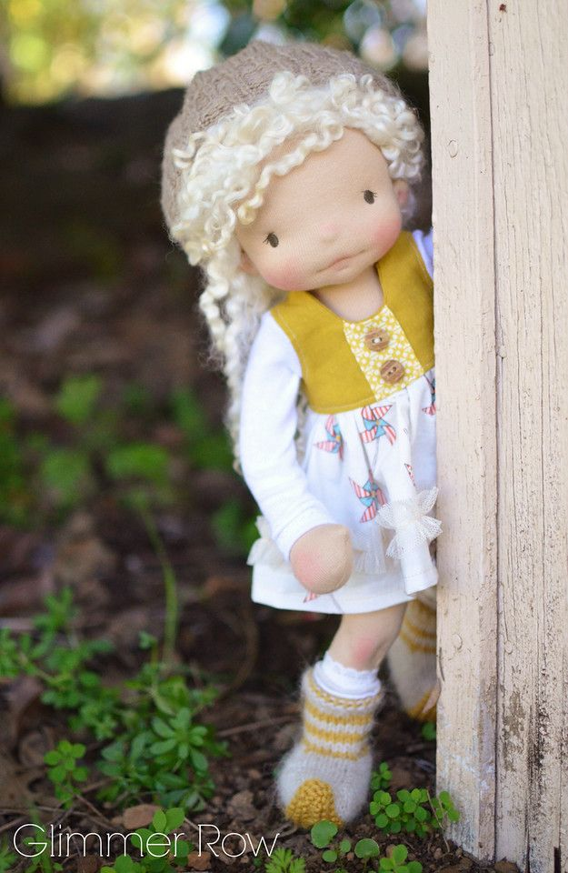 """Sorelle"", a 14"" natural, waldorf inspired, cloth doll by Glimmer Row"