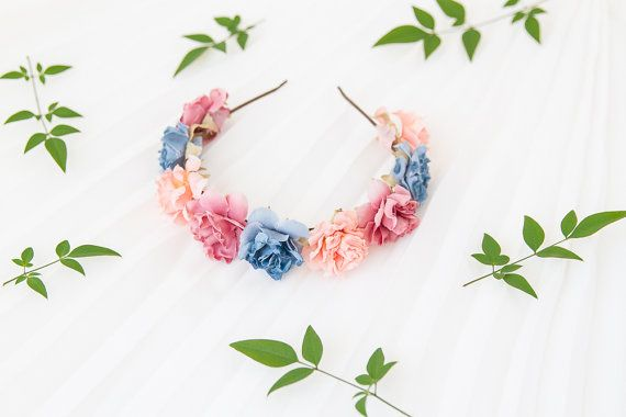 romantic pastel rose headband // pastel mix  dainty by kisforkani