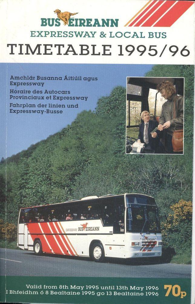 Ireland Bus Eireann Timetable 95/96 Derry Dublin Galway Cork Limerick Belfast