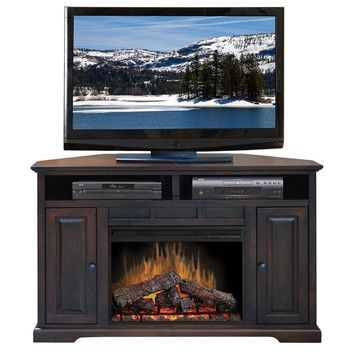 legends furniture brentwood 56 quot corner tv stand with electric fireplace wayfair