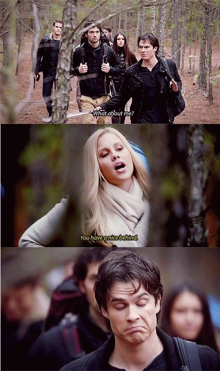 """""""You have a nice behind.""""  Re: why Damon is useful on the search for the cure.  I think this is one of my favorite scenes."""
