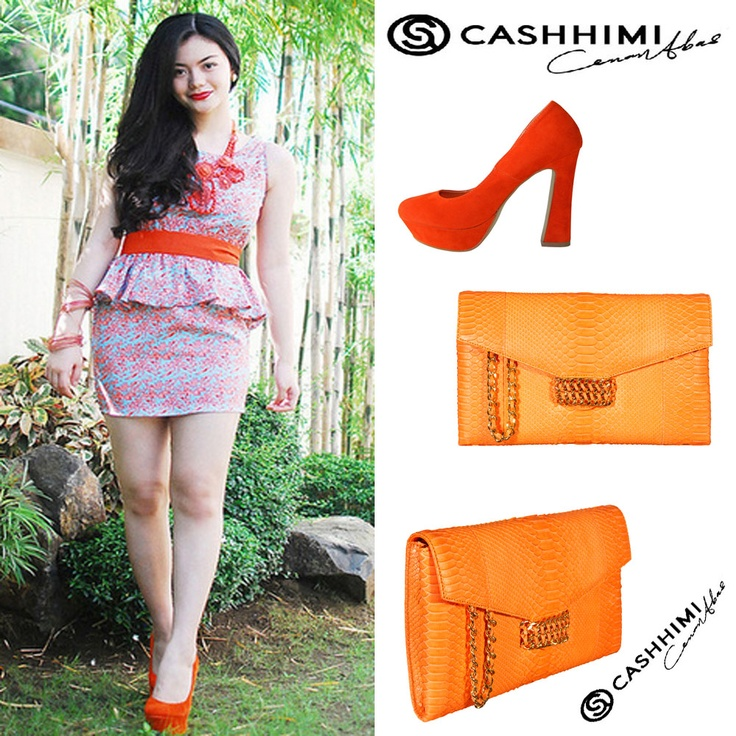Cashhimi Orange BEVERLY  Leather Clutch