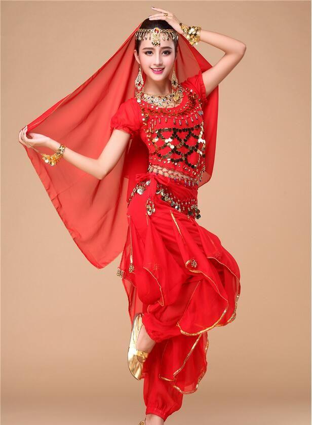 Aliexpress.com: Comprar 4 unids/set ( Top + Pant + cinturón + velo por cabeza ) danza del vientre ropa, traje de la danza india para mujeres desgaste de la etapa vestido de la danza de traje de peluche fiable proveedores en U-Angel-1988 Trade Co.,Ltd