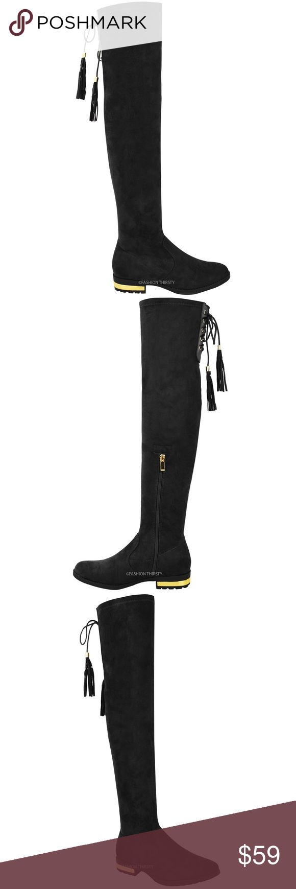 Black faux suede gold heel thigh over knee boot Imported from Italy, These fabulous one of a kind boots offer both comfort and style. Features stretch faux suede material, comfy padded flat sole with rubber outsole, lace up tassel/ fringe tie on back, gold mirror metal on back of heels. These boots are stretchy. Brand new in original packaging with dust bags. True to size 10. You won't find these rare gems in the USA. 🚫price is firm/ no offers🚫. Shoes Over the Knee Boots