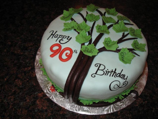 A family tree cake for a 90th birthday celebration.