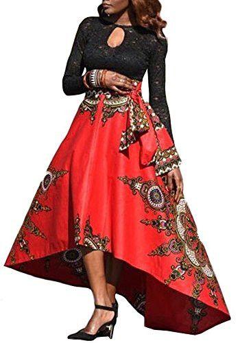 Pxmoda Women's Long African Dashiki Skirt Full Length Ball Gown (M, Red)