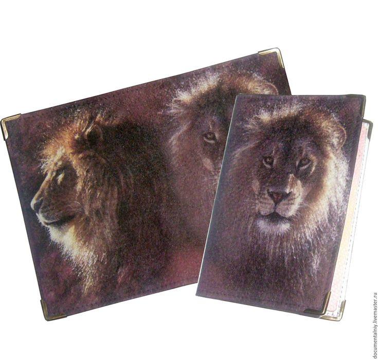 """Купить Обложка для документов (кожа), серия """"ЛЕО"""" - обложка ручной работы, обложка лев"""