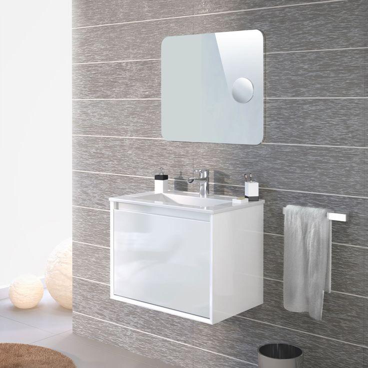 Conjunto de lavabo suspendido fabricado en PVC con fondo reducido. Recubrimiento continuo impermeabilizado. Alta resistencia a la humedad. El cajón principal tiene...