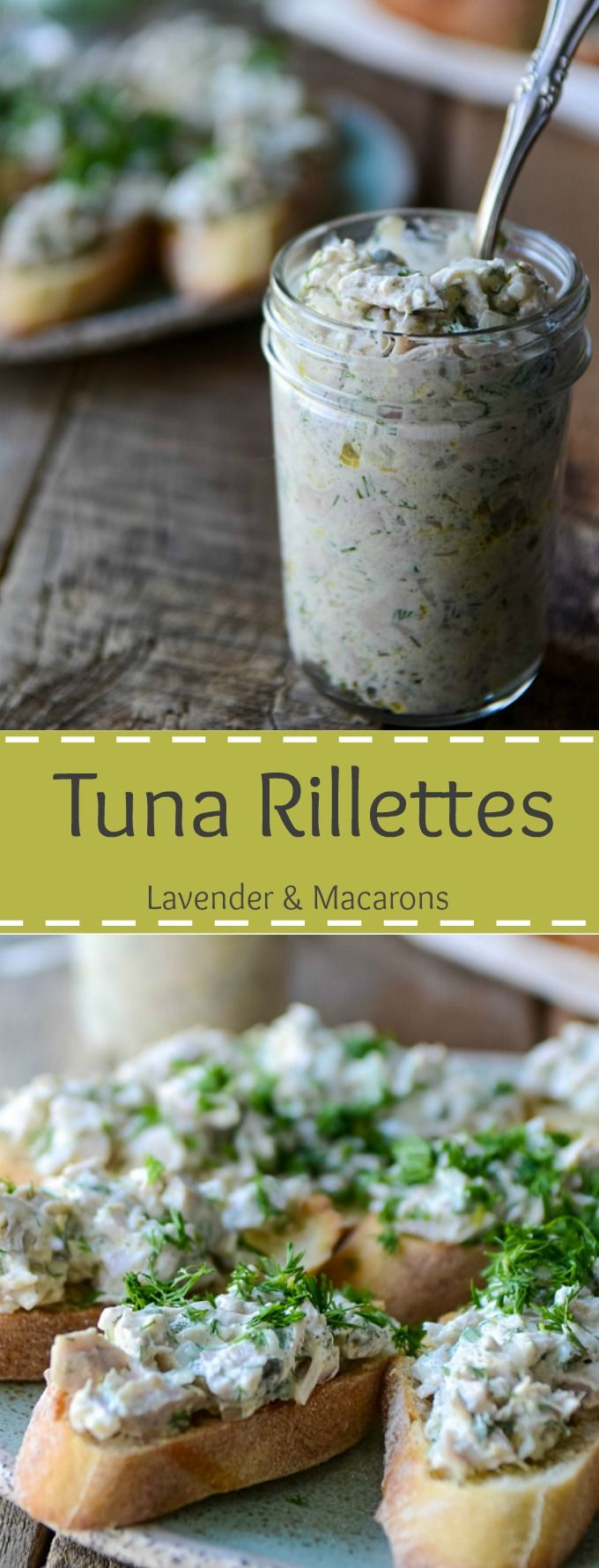 Tuna Rillettes is a rustic French spread made from Baked Tuna and. It's great as party starter served on a crusty baguette or toast. via @https://www.pinterest.com/lavenderandmcrn/