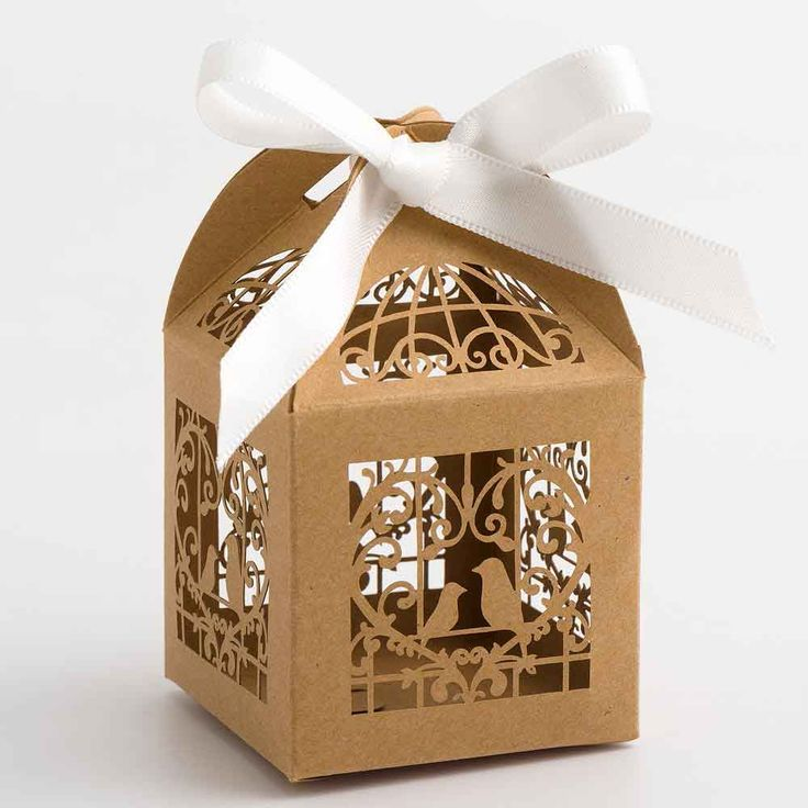 Kraft Laser Cut Wedding Favour Boxes with Lovebirds