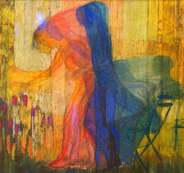 Kupka, Serie de la jeune fille cueillant des fleurs (1909-11) = tout va très vit ,on oubli presque le figuratif = DEBUT DE L'ABSTRACTION, rep de l'INVISIBLE(cherche à rep le spirituel, l e flux mental)