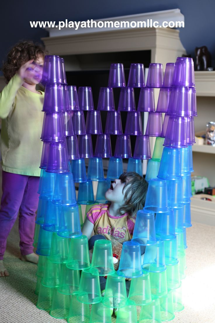 "Building with cups from Play at Home Moms LLC ("",)  Repinned by Apraxia Kids Learning. Come join us on Facebook at Apraxia Kids Learning Activities and Support- Parent Led Group."