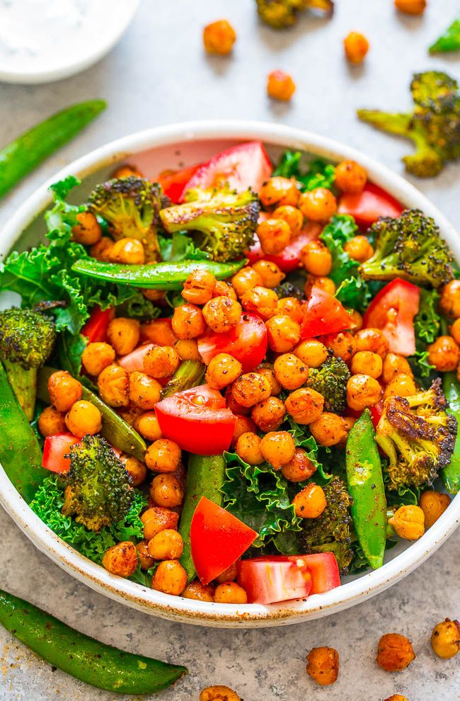 Smoky Roasted Chickpea Salad Buttermilk Dressing Averie Cooks Recipe Roasted Chickpea Salad Best Vegan Restaurants Food
