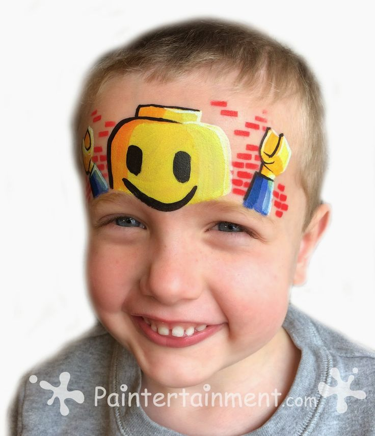 Lego facepainting for boys and girls who love Legos. Great boy facepainting idea. Half face or forehead face painting idea for boys and girls by paintertainment.com